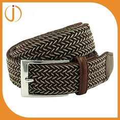 Tonsee Cool Men Leather Braided Elastic Stretch Metal Buckle Belt Waistband Coffee