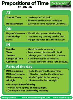 Prepositions of Time: AT - ON - IN English Grammar Chart. Remember: British English and American English have differing views on preposition rules! English Time, English Fun, English Writing, English Study, English Class, English Words, English Lessons, English Grammar, Learn English