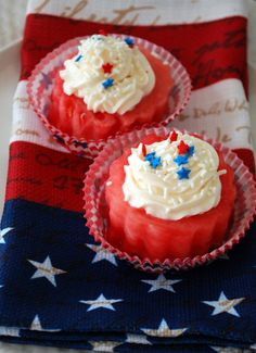 Watermelon Cupcakes w Pineaple cream cheese frosting - Home is Where the Boat Is  1/2 cup butter, room temperature    1 (8 ounce) package cream cheese, room temperature    4 tablespoons pineapple juice    4 cups sifted confectioners' sugar