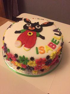 Bing bunny birthday cake, with fondant flowers. Bunny Birthday Cake, Bithday Cake, Birthday Cupcakes, 3rd Birthday, Bing Cake, Bing Bunny, Different Kinds Of Cakes, Rabbit Cake, Girl Cakes
