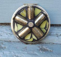 Mosaic Gun Shell Casing Make Up Compact by PiecesofhomeMosaics, $28.99