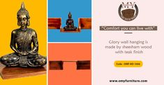 """Comfort you can live with"" Product Title: GLORY WALL HANGING Product Code - OMF-HD-1006 Glory wall hanging is made by Sheesham wood with the teak finish. It is a home decor shelf item. It's made for multipurpose use we use anywhere in our home. It is a light weighted and easy to move  Call Us: +91 9001470833, 7627045945  #furniture #cabinet #diningtable #bed #drawer #bookselves #chairs"
