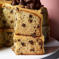 Banana-Chocolate Chip Cake With Peanut Butter Frosting