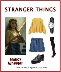 DIY Stranger Things costume Nancy - stranger things outfits - It's almost time for Halloween which means I know a lot of you are looking for a Halloween costume to wear. Check out this Eleven Stranger Nancy Stranger Things, Eleven Stranger Things Costume, Stranger Things Halloween Costume, Stranger Things Netflix, Easy Halloween Costumes, Stranger Things Jewelry, Halloween Meme, Meme Costume, Retro Outfits