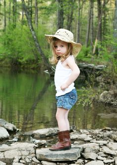 This sassy little cowgirl is giving me the pouty face.  This was taken at a creek in Heber Springs AR.