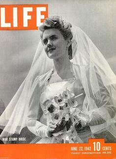 Original Life Magazine from June 1942 - War-stamp bouquets, bride Life Magazine, History Magazine, Wedding Veil, Wedding Dresses, Wedding Suits, Wedding Ceremony, 1940s Wedding, Vintage Weddings, Wedding Vintage
