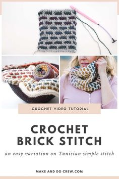 Learn how to work the Tunisian crochet brick stitch by following the straightforward video and photo tutorial from Make and Do Crew. This grid-like stitch is a beautiful, modern Tunisian crochet stitch for blankets, accessories and home decor projects. #makeanddocrew #freecrochetpattern #crochetbrickstitch #tunisiancrochet Tunisian Crochet Patterns, Modern Crochet Patterns, Craft Patterns, Crochet Videos, Crochet Tutorials, Crochet Projects, Crochet Fabric, Knit Crochet, Make And Do Crew