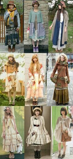 just do darker shades Mori girls, including street fashion - nice! Love to see all the different takes on the style Mori Girl Fashion, Lolita Fashion, Cute Fashion, Asian Fashion, Fashion Styles, Fashion Ideas, Fashion Dresses, Mode Mori, Forest Girl