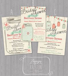 Mason Jar Bridal Shower Invitation DIGITAL by DesignbyKristinLynn