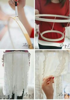 Twine or rope or vellum or wire or ribbon or something instead of lace. Small hoop over large hoop then small hoop on bottom? Or 3 graduated hoops