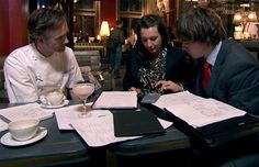 Counting the cost: Jade Nash (centre) and Nick Holzherr of www.whisk.co.uk (right) attempt to calculate the figures in episode 10 of The Apprentice 2012. http://www.telegraph.co.uk/culture/tvandradio/the-apprentice/9285632/The-Apprentice-2012-episode-nine-live.html#