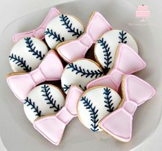 Gender Reveal Sugar Cookies. Baseballs or bows decorated in royal icing by YB Cakes and More at www.ybcakesandmore.com/gallery Follow me on www.instagram.com/ybcakesandmore
