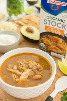 This hearty White Chicken Chili is made in the slow cooker with /swansonbroth/ for an easy weeknight meal! Chili Recipes, Slow Cooker Recipes, Crockpot Recipes, Chicken Recipes, Healthy Recipes, Chicken Meals, Sweets Recipes, Soup Recipes, Crockpot White Chicken Chili