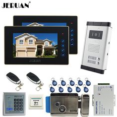 JERUAN 7`` LCD video door phone 2 Touch key Monitor 1 HD Camera Apartment 1V2 Doorbell+RFID Access Control FREE SHIPPING #Affiliate