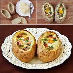 Idaho Sunrise Baked Eggs & Bacon In Potato Bowls