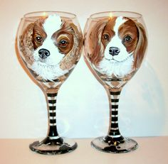 Pet Portrait Custom Cavalier king Charles Spaniels On 2 - 20 oz. Hand Painted Wine Glasses Dog Cat Horse Any Pet Memorial Dog Painting by SharonsCustomArtwork on Etsy