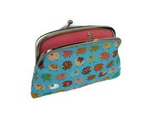 Rainbow sheep kiss lock purse two compartment aqua by PursePoppet