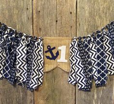 Nautical Theme Navy and White Burlap and Fabric Banner, Garland, First Birthday, Anchor, highchair banner by RockyTopCharm on Etsy