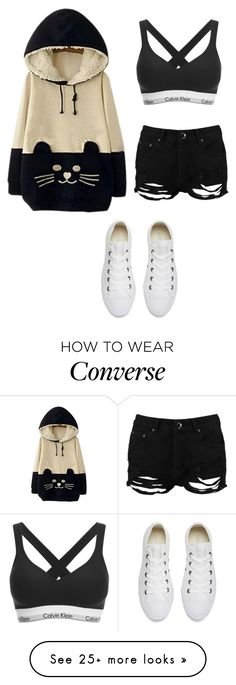 """Untitled #343"" by skittles1324 on Polyvore featuring WithChic, Boohoo, Converse and Calvin Klein"