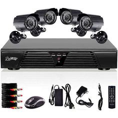 Standalone 4CH 800TVL Home CCTV Surveillance Security Outdoor Camera System US