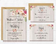Boda rústica invitación imprimibles invitación Floral boda