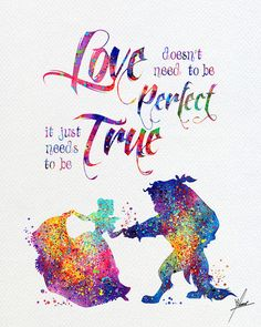Beauty and The Beast Watercolor Print Disney Fine Art Print Kids Art for Boys and Girls Nursery Art Wedding Gift Prince Room Item 312 Disney Princess Quotes, Disney Quotes, Cinderella Quotes, Watercolor Print, Watercolor Illustration, Watercolor Wedding, Cartoon Network Adventure Time, Disney Kunst, Cute Captions