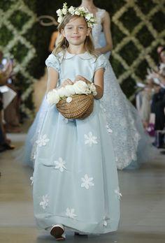 Brides: Oscar de la Renta - Spring 2013. Light blue silk A-line flower girl dress with short sleeves, a Peter Pan collar, and Guipure lace floral details on the skirt, Oscar de la Renta