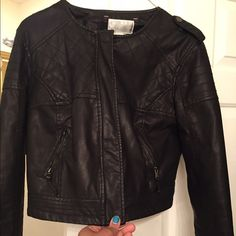 Cropped faux leather jacket! Only worn once!  No flaws! Xhilaration Jackets & Coats Utility Jackets