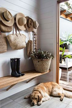 Serene NSW beach house filled with handmade furniture - 'Dynasty City' tiles from Tile Power feature in the entrance foyer, which doubles as a restin - Entrance Foyer, House Entrance, Entryway Decor, Entrance Ideas, Door Entry, Front Entry, Hallway Light Fixtures, Hallway Lighting, Boho Home