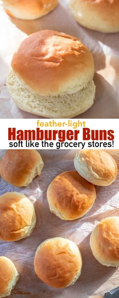 These homemade feather-light Hamburger Buns are as soft as the grocery store buns! No more dense hamburger buns! They are amazingly soft, airy and even get those classic wrinkle signature marks! Best Burger Buns, Homemade Burger Buns, Homemade Hamburgers, Homemade Breads, Soft Buns Recipe, Hamburger Bun Recipe Bread Machine, Fluffy Yeast Rolls Recipe, Bread Machine Recipes, Recipes