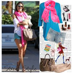 A.A with Hot pink scarf