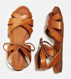 Tan AEO Tie Front Sandal