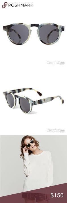 Illesteva dark matte horn sunglasses handmade Acetate frames UV400 CR-39  lenses Eye - 48mm f47dcd16bc3e6