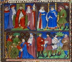 Royal 18 D vii f.2.. Pope with cardinals; 2. King of France enthroned; 3. Jean, duke of Berry receiving the book from the translator, Laurent de Premierfait; 4. A group of labourers; and a foliate initial 'A'(puissant) with a full border, at the beginning of the first prologue.   France, N. (Rouen?)   Attributed to the Talbot Master