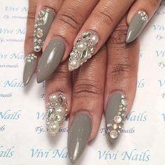 Grey and gemstone stilettos