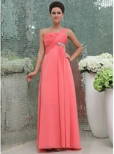 Empire One-Shoulder Floor-Length Chiffon Bridesmaid Dress With Ruffle Beading (007017307) - JJsHouse