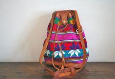 vintage tapestry bucket bag  ARROW pattern Guatemala by MsTips, $34.00