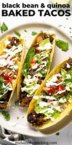 "In these crispy vegetarian black bean tacos, black beans and quinoa combine with a signature taco spice blend for a seriously delicious ""meaty"" filling. Vegetarian Tacos, Vegan Tacos, Vegetarian Options, Vegetarian Recipes, Cooking Recipes, Healthy Recipes, Vegetarian Mexican, Pescatarian Recipes, Cooking Tips"