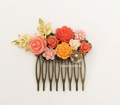 Chintz Coral Wedding Hair Comb Gold Orange Peach Bridal Hair Slide Shabby Chic Theme Floral Collage Modern Bride Hair Adornment Headpiece Bridesmaid Gift
