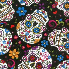 Folkloric Skulls on black cotton fabric - Floral Mexican Sugar Skulls - Day of the Dead - Amor Eterno - HALF YARD Mexican Sugar Skulls, Sugar Skull Art, Maya, Skull Fabric, Day Of The Dead Art, Popular Crafts, Les Themes, Flower Skull, Skull Print