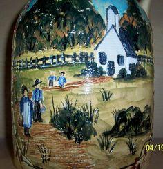 Etched amish school yard jug !!
