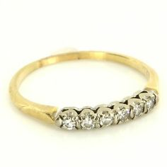 Vintage 14 Karat Yellow Gold Diamond Wedding Stack Band Ring Fine Estate Jewelry $295