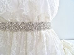 DEANNA Beaded crystal sash bridal sash wedding by LiveAdorned