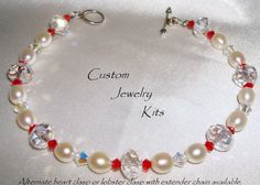 DIY Jewelry Kit5 Freshwater pearl red and clear от LovelyDawn