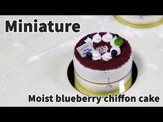 미니어쳐 촉촉한 블루베리 쉬폰 케이크 만들기 (파리바게트) - Miniature cake - YouTube