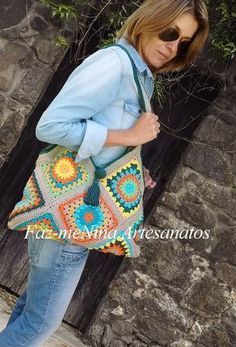 Crochet Squares, Crochet Motif, Knit Crochet, Crochet Patterns, Crotchet Bags, Knitted Bags, Crochet Lingerie, Granny Square Bag, Leather Bag Pattern