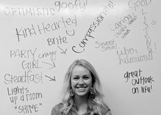 Have one person sit on a chair in front of a white board while the others wrote a positive phrase about them.  Take a picture to give to each person. Fun and positive sisterhood event!  Great bonding idea!!
