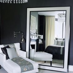 Adding a floor mirror makes a space feel larger. #tip