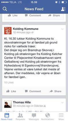 Kolding Kommune burger Facebook til god borgerservice i form af informationsformidling ifm. Stormen Bodil.