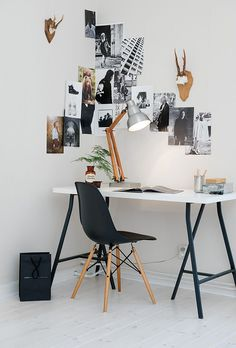 Folding table ...pop-up office? ..or revamp existing folding table....black and gold ..or pink legs? 20 Easy Ways to Spice Up Any White Wall | StyleCaster